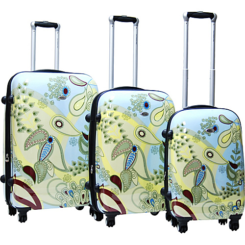 CalPak Woodstock 3 Piece Exp. Hardside Luggage Set Sky Blue - CalPak Hardside Luggage