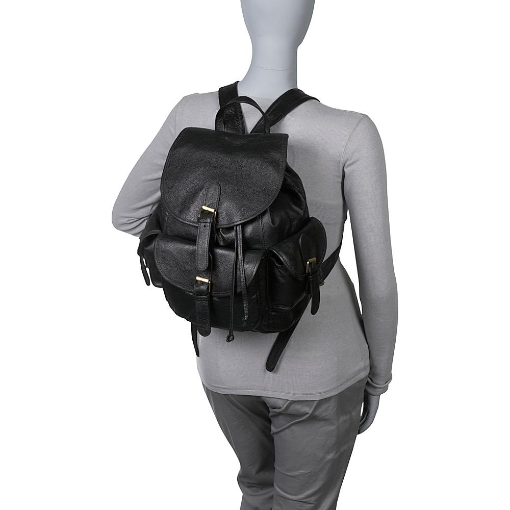 AmeriLeather Urban Buckle-Flap Backpack Black - AmeriLeather Leather Handbags