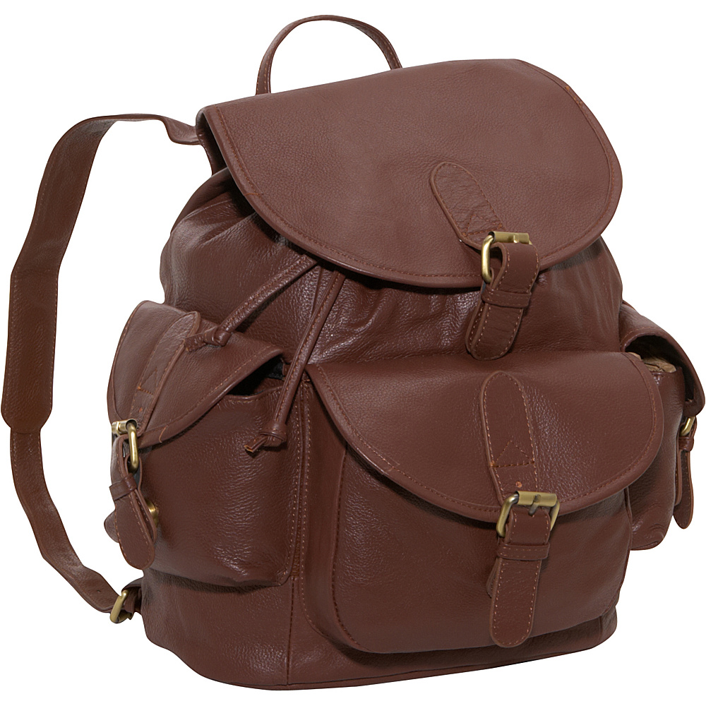 AmeriLeather Urban Buckle-Flap Backpack - Brown - Handbags, Leather Handbags