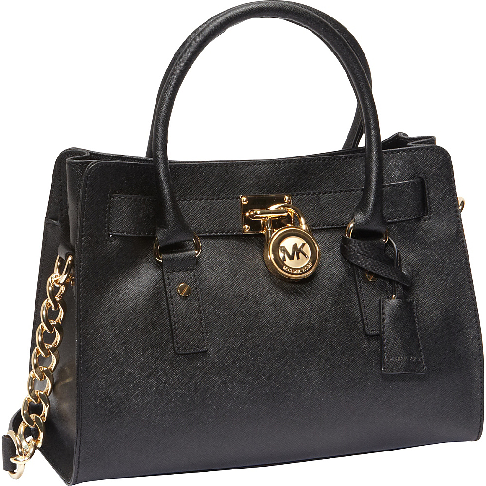 MICHAEL Michael Kors Hamilton 18K E/W Saffiano Satchel Handbag Black - MICHAEL Michael Kors Designer Handbags