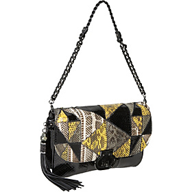 Angela Water Snake Flap Clutch Black Multi