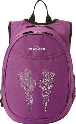 Obersee Kids Pre-School Angel Wings Backpack with Integrated Lunch Cooler Purple Bling Rhinestone Angel Wings - Obersee Everyday Backpacks