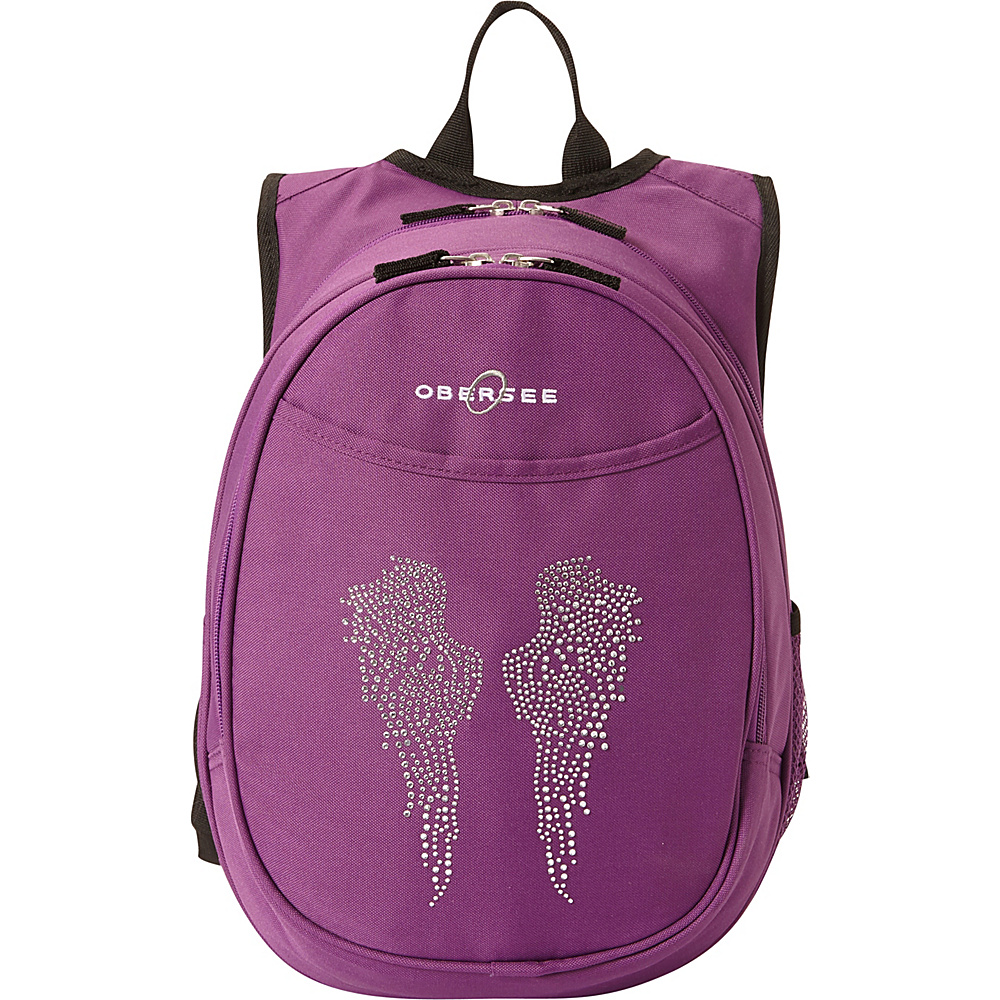 Obersee Kids Pre School Angel Wings Backpack with Integrated Lunch Cooler Purple Bling Rhinestone Angel Wings Obersee Everyday Backpacks