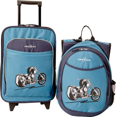 Obersee Kids Motorcycle Luggage and Backpack Set With Integrated Cooler Blue Motorcycle - Obersee Softside Carry-On