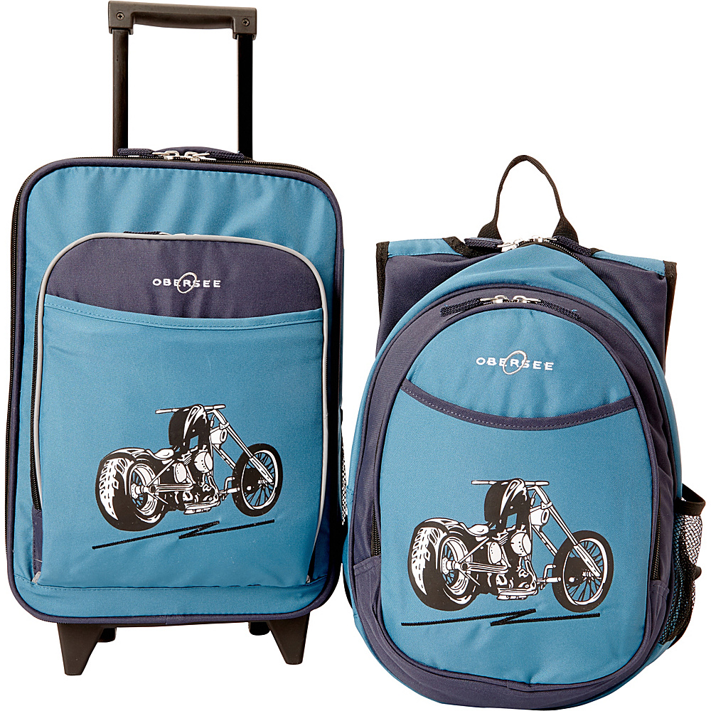 Obersee Kids Motorcycle Luggage and Backpack Set With Integrated Cooler Blue Motorcycle Obersee Softside Carry On