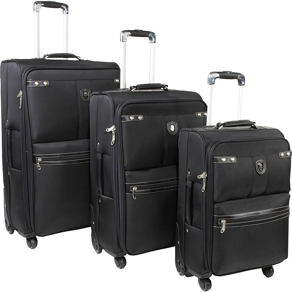 J World Centennial 3 Piece Spinner Set - Black - Luggage, Luggage Sets