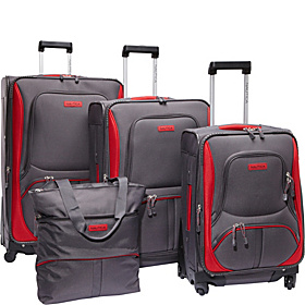 Downhaul 4 Pc Luggage Set Classic Grey/Classic Red