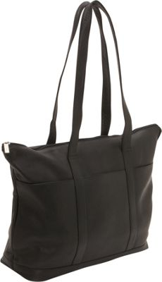 Le Donne Leather Double Strap Large Pocket Tote Black - Le Donne Leather Leather Handbags