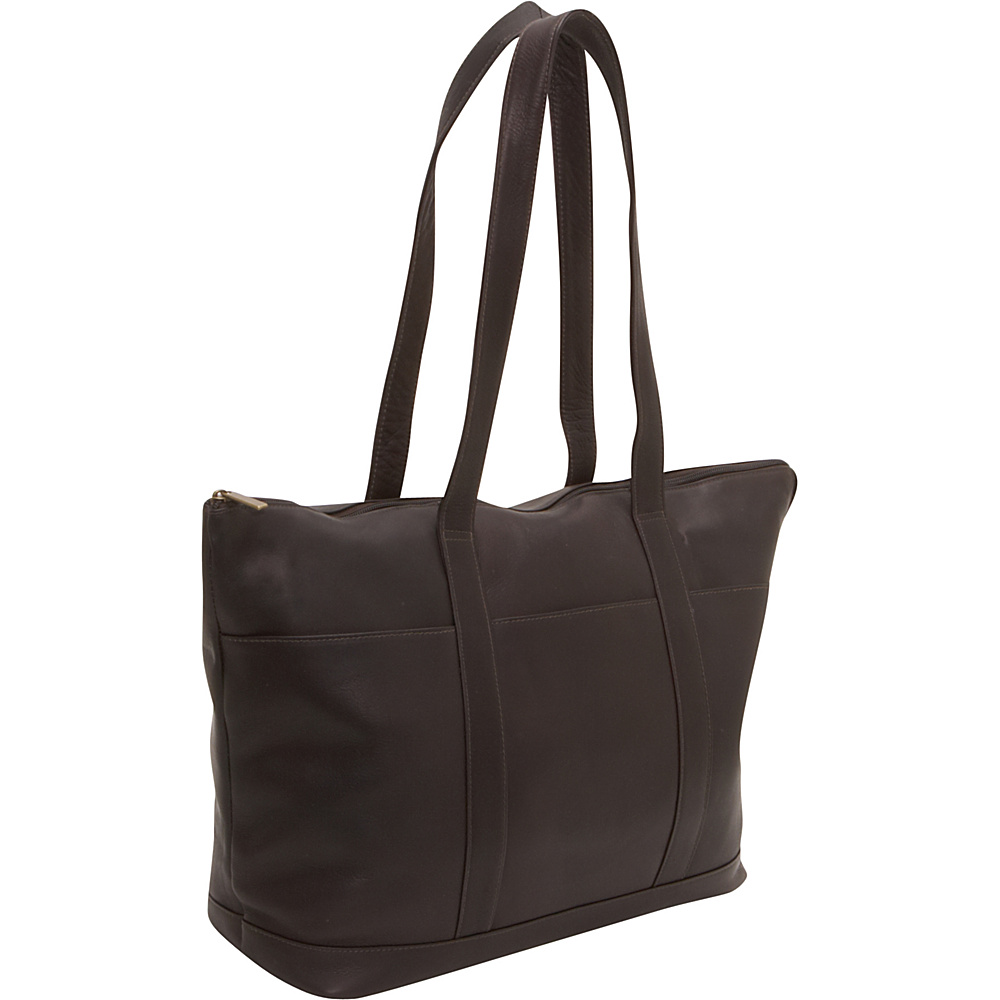 Le Donne Leather Double Strap Large Pocket Tote Cafe - Le Donne Leather Leather Handbags - Handbags, Leather Handbags