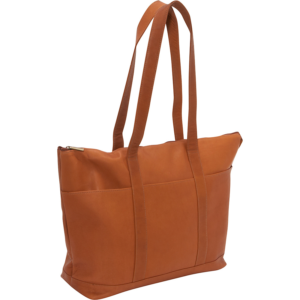 Le Donne Leather Double Strap Large Pocket Tote Tan - Le Donne Leather Leather Handbags - Handbags, Leather Handbags