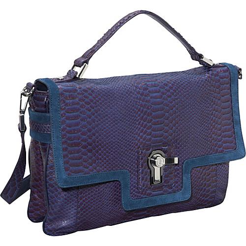 Juicy Couture Mixed Media Colorblock Snake Jocelyn Flap Satchel Blackberry - Juicy Couture Designer Handbags