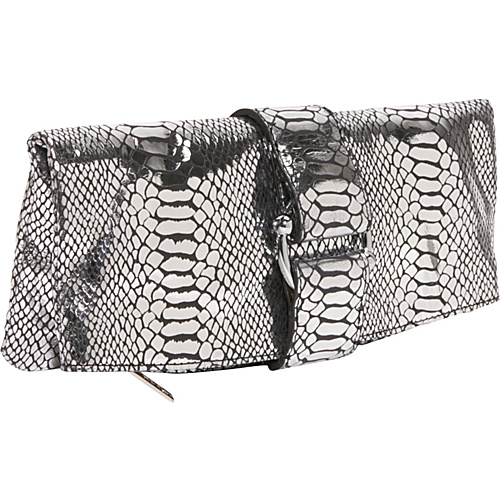 AmeriLeather Ace Python Clutch - Silver