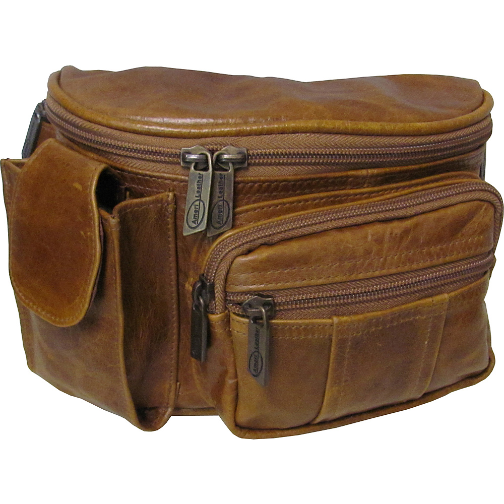AmeriLeather Leather Cell Phone/Fanny Pack Brown - AmeriLeather Waist Packs - Backpacks, Waist Packs