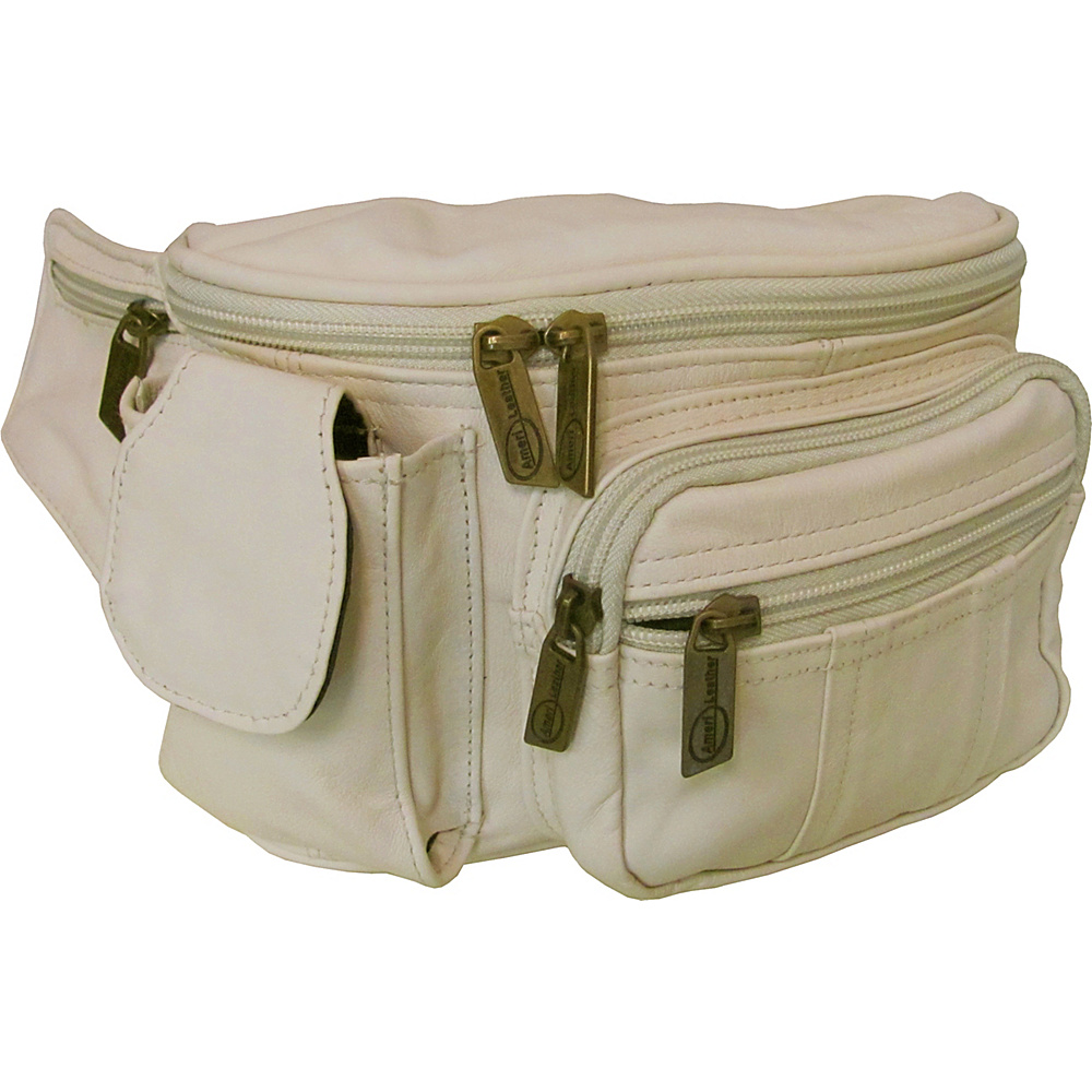 AmeriLeather Leather Cell Phone/Fanny Pack Off White - AmeriLeather Waist Packs - Backpacks, Waist Packs