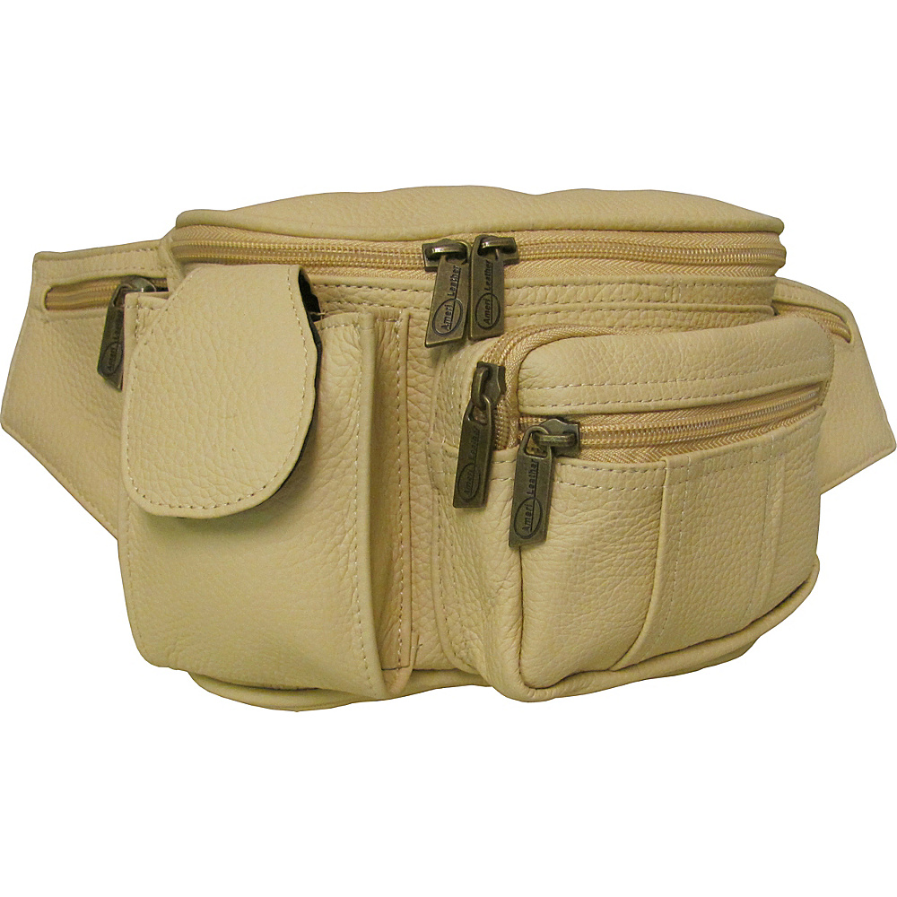 AmeriLeather Leather Cell Phone/Fanny Pack Beige - AmeriLeather Waist Packs - Backpacks, Waist Packs