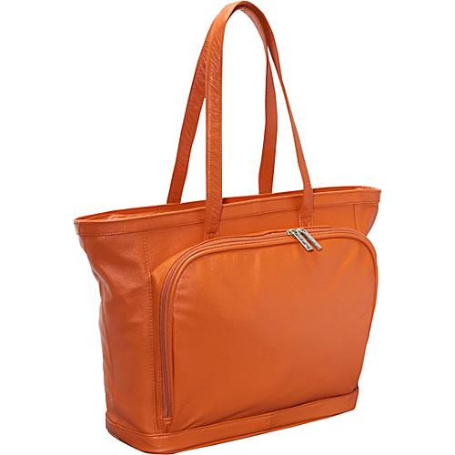 AmeriLeather Cosmopolitan Leather Tote - Coral