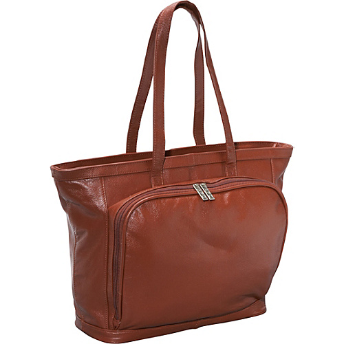 AmeriLeather Cosmopolitan Leather Tote - Brown