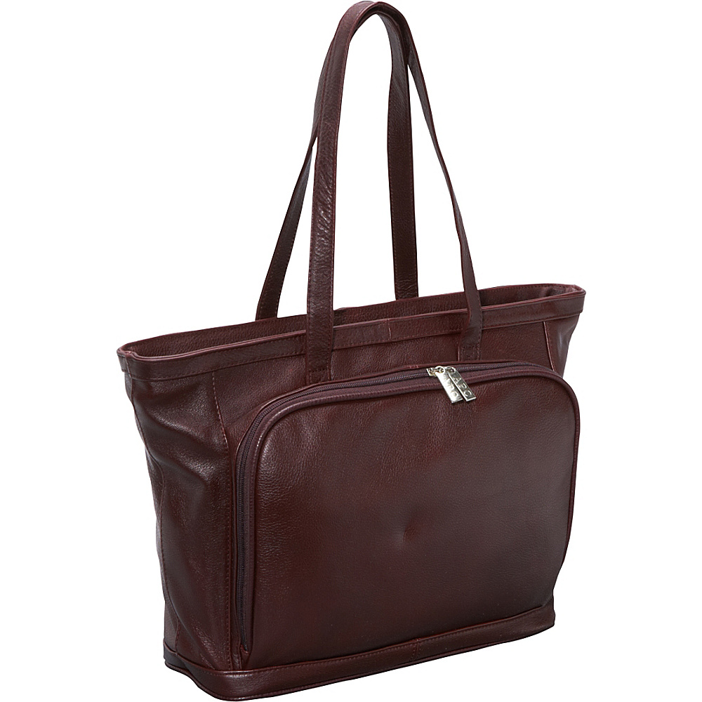 AmeriLeather Cosmopolitan Leather Tote - Burgundy - Work Bags & Briefcases, Women's Business Bags