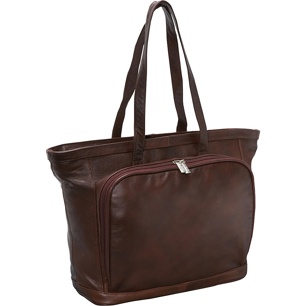 AmeriLeather Cosmopolitan Leather Tote - Dark Brown - Work Bags & Briefcases, Women's Business Bags
