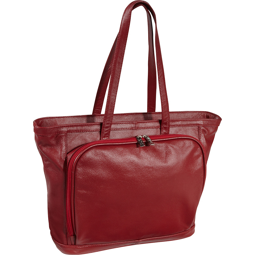 AmeriLeather Cosmopolitan Leather Tote Red - AmeriLeather Womens Business Bags - Work Bags & Briefcases, Women's Business Bags