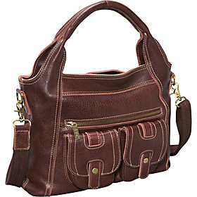 Elizabeth Two Pocket Leather Hobo Chestnut Brown