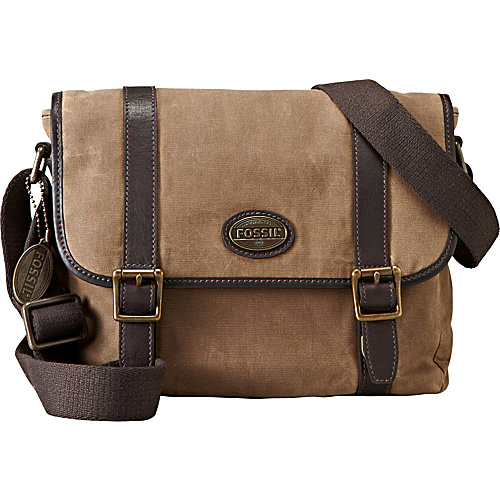 Fossil Estate Canvas E/W City Bag for iPad Khaki - Fossil Laptop Messenger Bags