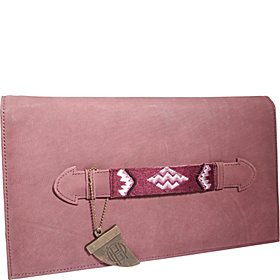 Lara Beaded Tab Handle Clutch Burgundy