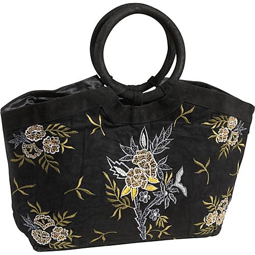 Moyna Handbags Embroidered Suede Bag Black