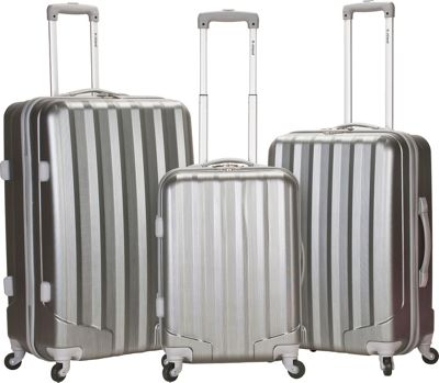 Rockland Luggage Santa FE 3-Piece Hardside Spinner Luggage Set Silver - Rockland Luggage Luggage Sets