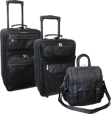 AmeriLeather Leather 3-piece Collection Black - AmeriLeather Luggage Sets