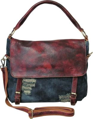 AmeriLeather Hayes Ripped Denim/Leather Hobo Washed Denim - AmeriLeather Fabric Handbags
