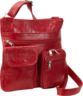 Ropin West Cross Over Bag Red - Ropin West Leather Handbags