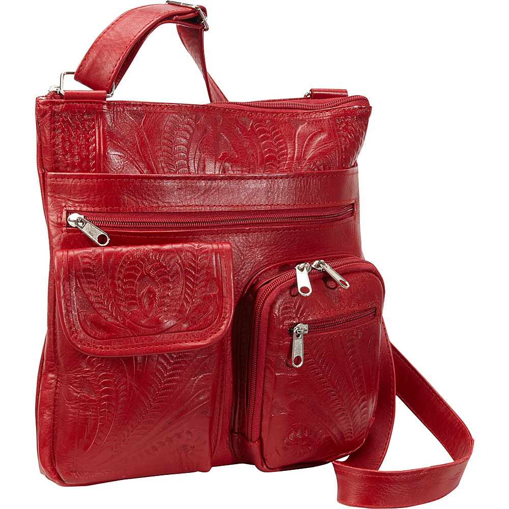 Ropin West Cross Over Bag Red Ropin West Leather Handbags