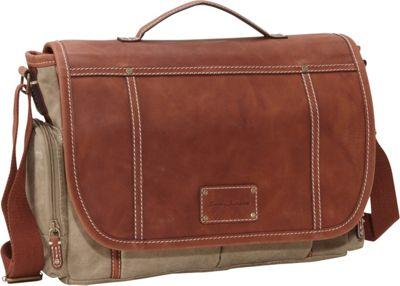 Tommy Bahama The Casual Bag Messenger Bag Khaki/Cognac - Tommy Bahama Messenger Bags