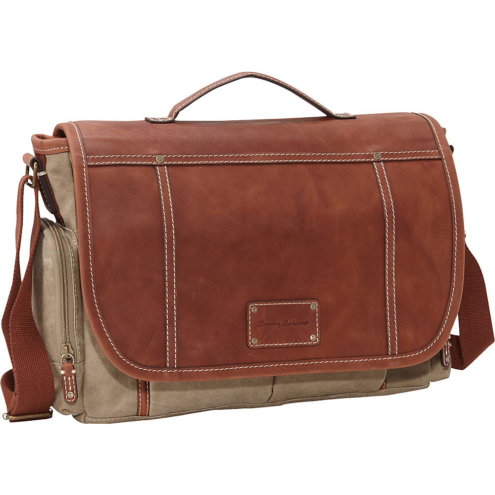 Tommy Bahama The Casual Bag Messenger Bag Khaki/Cognac - Tommy Bahama Messenger Bags