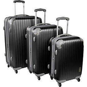 Eco Friendly 3 PC Spinner Hard side Luggage Set Black