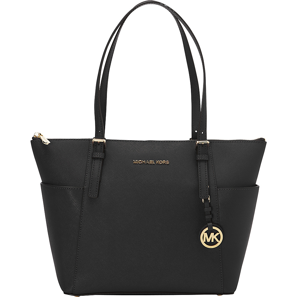 MICHAEL Michael Kors Jet Set Saffiano E W Top Zip Tote Black MICHAEL Michael Kors Designer Handbags