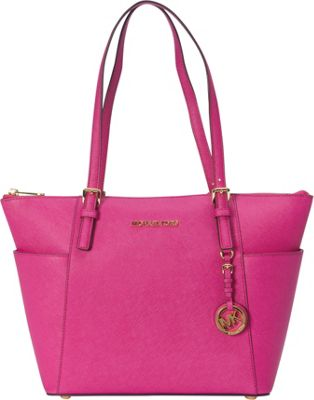 MICHAEL Michael Kors Jet Set Saffiano E/W Top Zip Tote Fuschia - MICHAEL Michael Kors Designer Handbags
