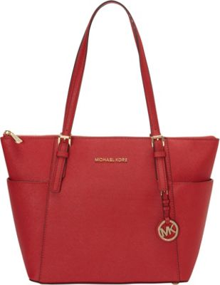 MICHAEL Michael Kors Jet Set Saffiano E/W Top Zip Tote Chili - MICHAEL Michael Kors Designer Handbags