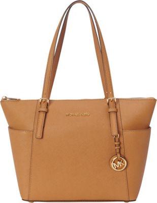 MICHAEL Michael Kors Jet Set Saffiano E/W Top Zip Tote Peanut - MICHAEL Michael Kors Designer Handbags