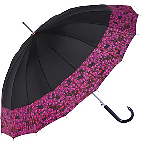 16 Panel Auto Fashion Stick Umbrella - Black/Edge Black/Edge