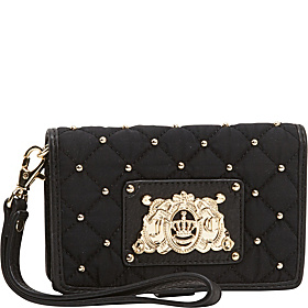 Upscale Quilted Nylon $ Pieces Tech Wristlet Black