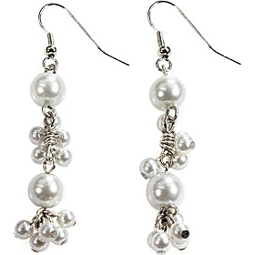 White Linear Cluster Pearl Earrings With Silver White