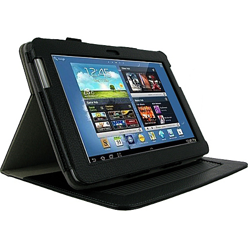 rooCASE Samsung GALAXY Note 10.1 N8000 Tablet: Dual-Axis Leather Case Black - rooCASE Laptop Sleeves