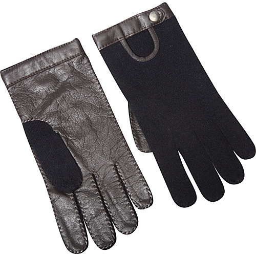 Kinross Cashmere Driving Glove w/Leather Black - Size M/L - Kinross Cashmere Gloves