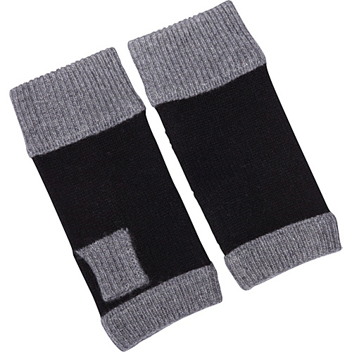 Kinross Cashmere Colorblock Fingerless Gloves Zinc/Black - Kinross Cashmere Gloves