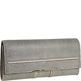 Nora Zipper Detail Clutch Smoke