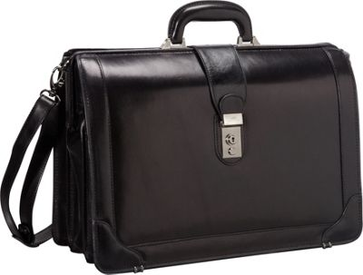 Mancini Leather Goods Luxurious Italian Leather 17 inch Laptop Briefcase Black - Mancini Leather Goods Non-Wheeled Business Cases