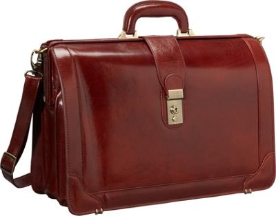 Mancini Leather Goods Luxurious Italian Leather 17 inch Laptop Briefcase Brown - Mancini Leather Goods Non-Wheeled Business Cases