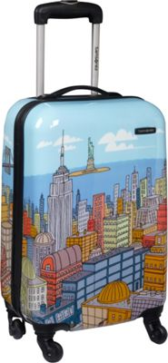 Samsonite CityScapes Spinner 20 inch Blue Print - Samsonite Hardside Carry-On